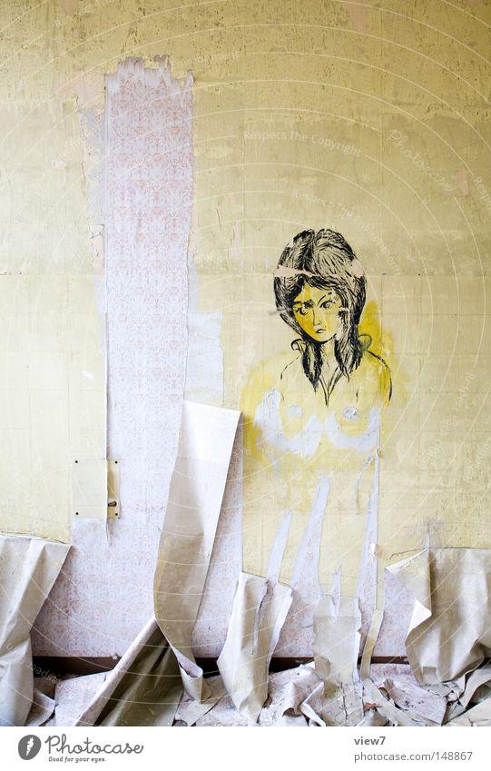 Hintergrund Frau alt Gesicht ruhig schwarz Wand Stil Haare & Frisuren Kunst Erwachsene Zeit kaputt Wandel & Veränderung Kultur Bild Brust