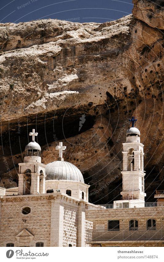 Kirche Turm Wüste Asien Kruzifix Christentum Glocke Syrien Kloster Gotteshäuser Naher und Mittlerer Osten Christliches Kreuz Kapelle Glockenturm Maalula