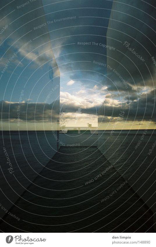 open view Haus Wand Meer Wolken Himmel Horizont Wege & Pfade Gasse Platz 2 Fuerteventura Doppelbelichtung analog