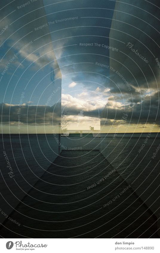 open view Himmel Meer Haus Wolken Wand Wege & Pfade Horizont Platz Kanaren analog Doppelbelichtung Gasse Fuerteventura Spanien