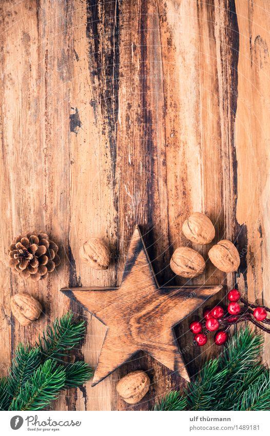 Weihnachten Hintergrund alt Weihnachten & Advent grün rot ruhig Freude Winter Liebe Gefühle Holz Feste & Feiern braun Zusammensein Wohnung Zufriedenheit Häusliches Leben