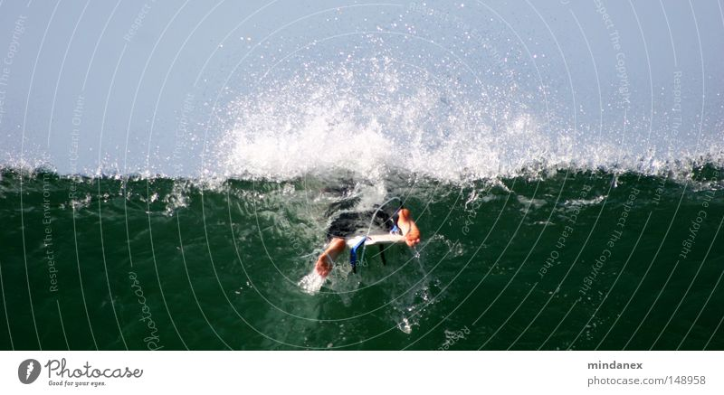 Wellenbrecher II Surfen Surfer Meer blau grün Wasser Sport Spielen