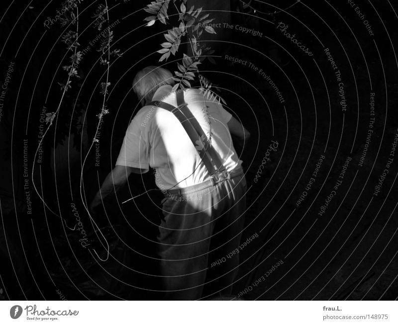 sein Weg Mensch Mann alt Pflanze Senior dunkel Arbeit & Erwerbstätigkeit Tod Garten hell maskulin Rücken Aktion Ordnung Güterverkehr & Logistik Müll