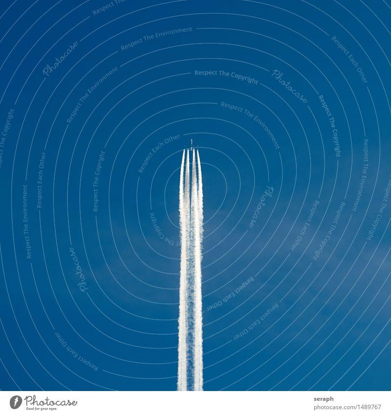 Jet Flugzeug Düsenflugzeug Ferien & Urlaub & Reisen Luft hoch Niveau Reisefotografie Passagierflugzeug Kondensstreifen Wolken Himmel blau Ferne Fernweh