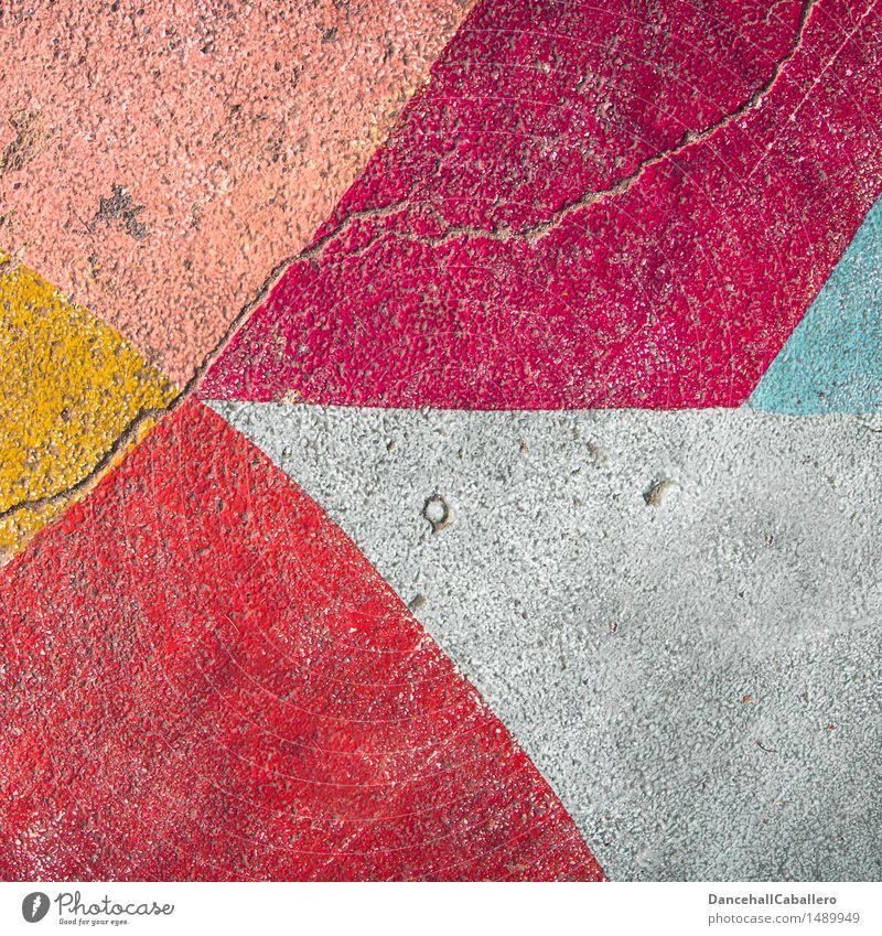 Die wunderbare Welt der Geometrie l 5 Farbe weiß rot Straße Graffiti Hintergrundbild Lifestyle Linie Design Verkehr dreckig elegant modern ästhetisch