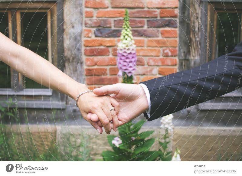 Brautpaar Hand in Hand Hochzeit Frau Erwachsene Mann Paar Partner Arme Finger Schmuck Ring Glück Lebensfreude Optimismus Mut Vertrauen Geborgenheit Einigkeit