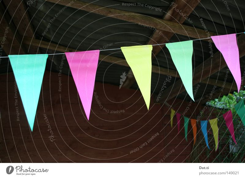 Kontradeko Sommer Garten Dekoration & Verzierung Party Feste & Feiern Geburtstag Hütte Dach Papier Schnur Fahne gelb grün rosa Freude verschönern aufhängen