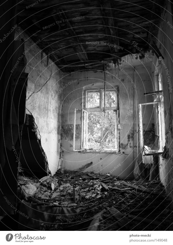 Nichts ist Unendlich! Haus Renovieren Natur Bauwerk Gebäude Mauer Wand Fenster Stein Holz alt bauen beobachten bedrohlich dreckig dunkel frei historisch schön