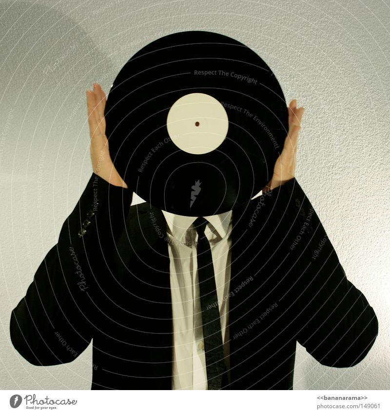 Vinylkopf Diskjockey Schallplatte Anzug Arbeit & Erwerbstätigkeit liegen drehen Hemd Geschäftsleute Musik Hand rund Mann Klang stereo mono Takt grau Bekleidung