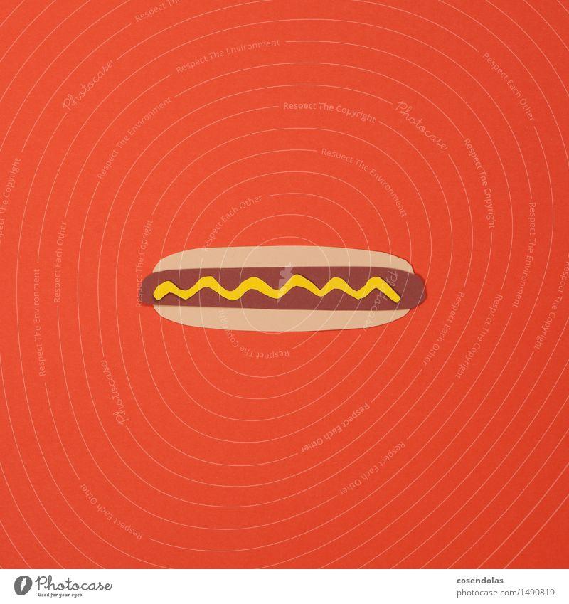 Hotdog Lebensmittel Fleisch Wurstwaren Ernährung Essen Mittagessen Fastfood Gesundheit Übergewicht Diät Fitness Möbelkaufhaus orange mehrfarbig Studioaufnahme