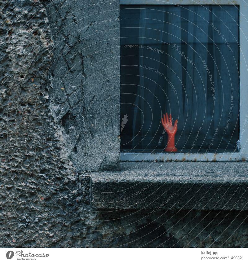 hi Hand Schaufenster weiß Statue Skulptur Finger Daumen Zeigefinger Mittelfinger Ringfinger linkshändig rechts Fensterrahmen Parteien Orientierung