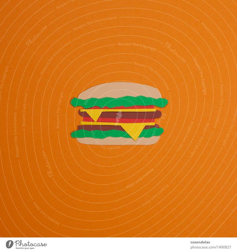 Hamburger Lebensmittel Fleisch Brötchen Ernährung Essen Mittagessen Abendessen Fastfood Diät orange Laster mehrfarbig Studioaufnahme Menschenleer