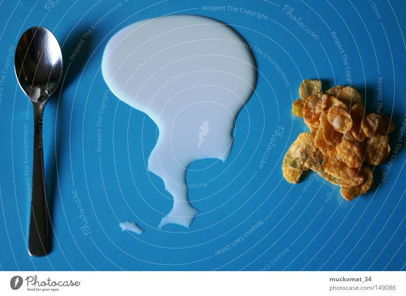 Frühstück blau Küche Tasse Schalen & Schüsseln Milch Löffel Besteck Missgeschick Milcherzeugnisse