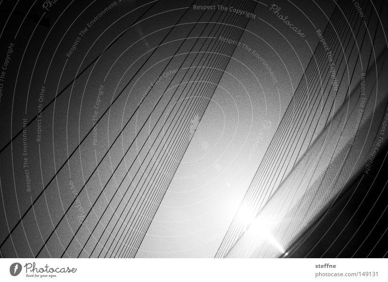 das tollste foto aller zeiten Sonne Brücke Linie schwarz weiß streben KFZ parallel Schwarzweißfoto abstrakt Strukturen & Formen Menschenleer Sonnenlicht