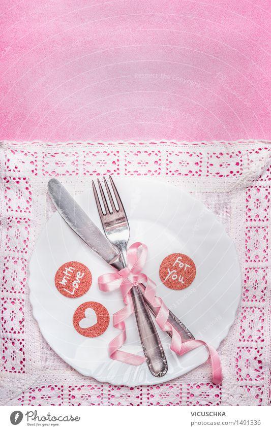 Romantisches Dinner. Tischgedeck. Liebe Essen Stil Hintergrundbild Feste & Feiern Party rosa Design elegant Dekoration & Verzierung Geburtstag Ernährung Tisch Herz Romantik Hochzeit