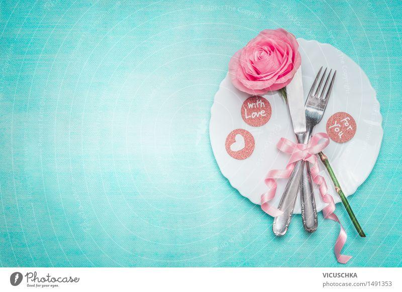 Romantisches Abendessen. Tisch Gedeck mit Rose. Blume Freude Liebe Stil Hintergrundbild Party rosa Design elegant Dekoration & Verzierung Schilder & Markierungen Geburtstag Tisch Herz Rose Fahne