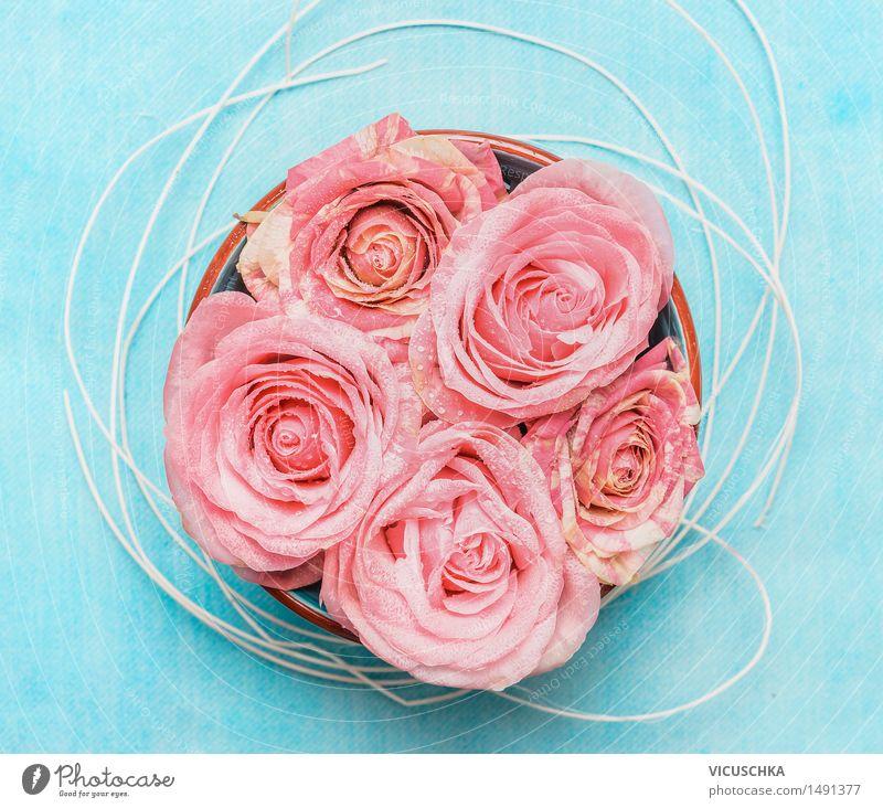 Schüssel mit Rosen auf blauem Hintergrund Natur Blume Blüte Stil Hintergrundbild Feste & Feiern rosa Design Dekoration & Verzierung Geburtstag Wellness Rose Blumenstrauß aromatisch Valentinstag Muttertag
