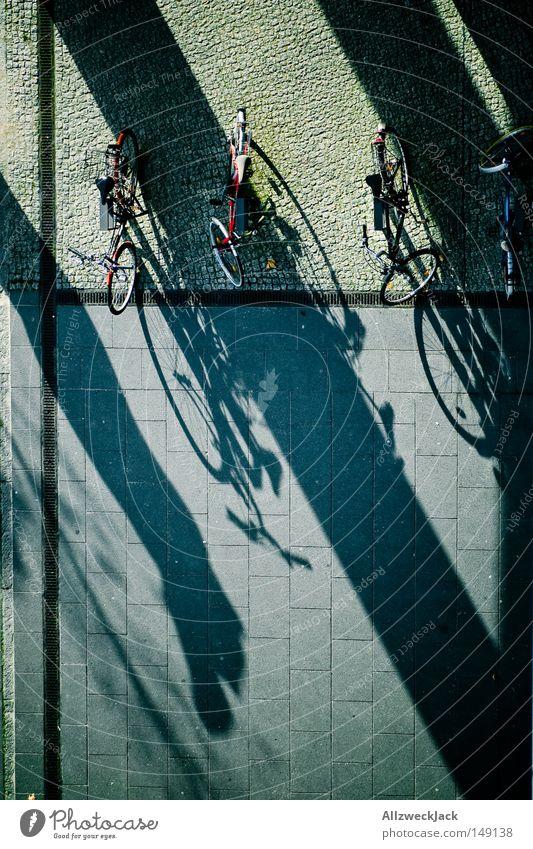 Schattenparker Herbst Fahrrad Verkehr Bürgersteig parken Pflastersteine Fahrradparkplatz