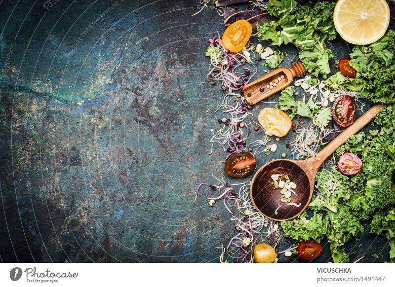 Kochen mit Grünkohl Gesunde Ernährung Leben Stil Hintergrundbild Lebensmittel Design Tisch Kräuter & Gewürze Küche Gemüse Bioprodukte Restaurant