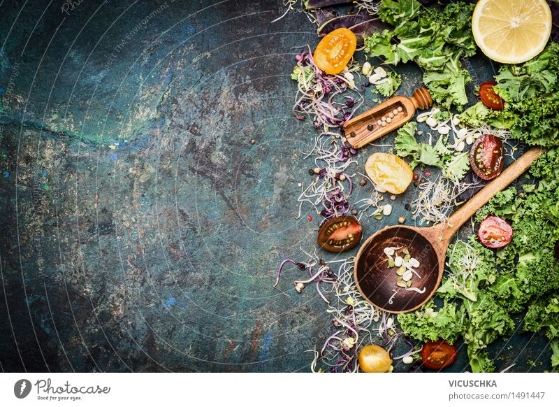 Kochen mit Grünkohl Lebensmittel Gemüse Salat Salatbeilage Kräuter & Gewürze Öl Ernährung Mittagessen Büffet Brunch Bioprodukte Vegetarische Ernährung Diät