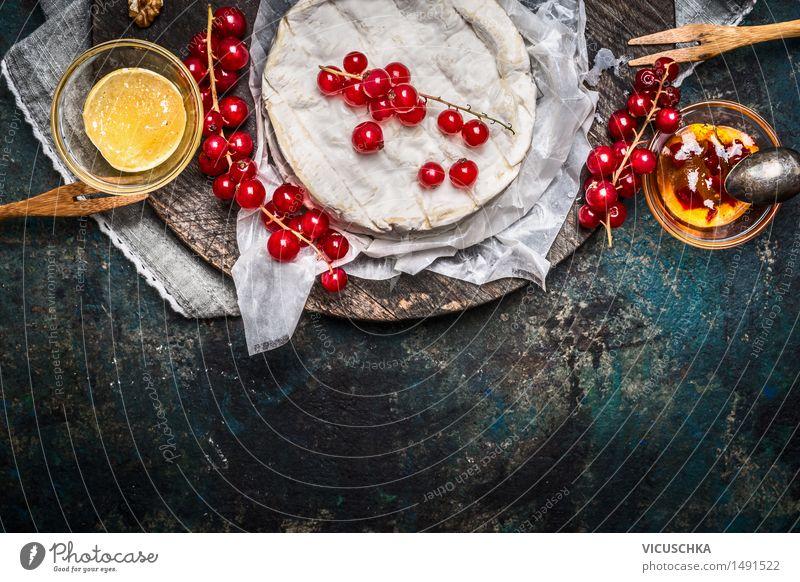 Camembert Platte mit roten Johannisbeeren Beeren und Sauce Lebensmittel Käse Marmelade Kräuter & Gewürze Ernährung Frühstück Festessen Bioprodukte