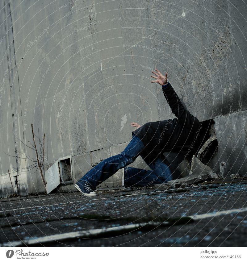 kopfzerbrechen Mensch Mann Silhouette Dieb Krimineller Rampe Laderampe Fußgänger Streifen Schacht Tunnel Untergrund Ausbruch Muster Flucht umfallen Schatten