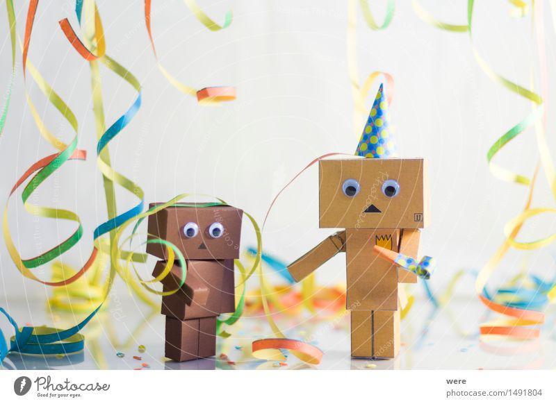 Hellau *Klick* Freude Feste & Feiern Party Dekoration & Verzierung Geburtstag Fröhlichkeit Dinge Karneval eckig Konfetti Kulisse Roboter Girlande Luftschlangen