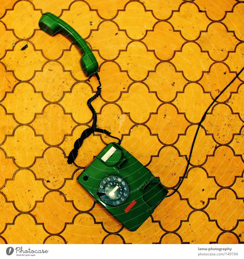 Oldschool-Ring-Ring alt grün gelb Farbe sprechen Design Telefon retro Kommunizieren Kabel Bodenbelag Telekommunikation liegen Ziffern & Zahlen Tapete Schnur