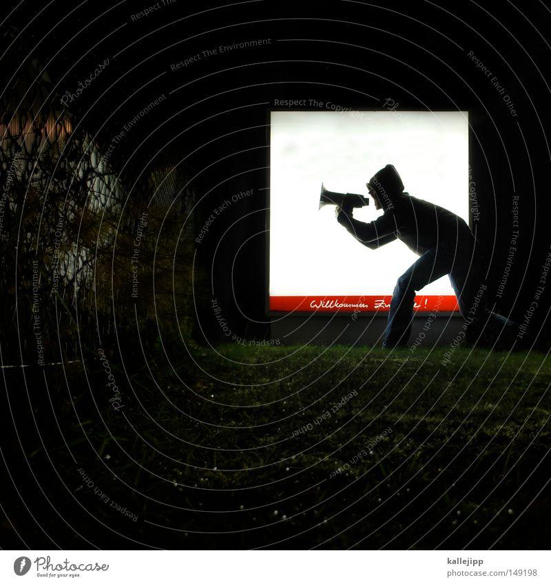 willkommen in der zukunft Mensch Mann ruhig Wand sprechen Mauer Lifestyle fliegen springen frisch verrückt Schuhe Kommunizieren Telekommunikation Hinweisschild
