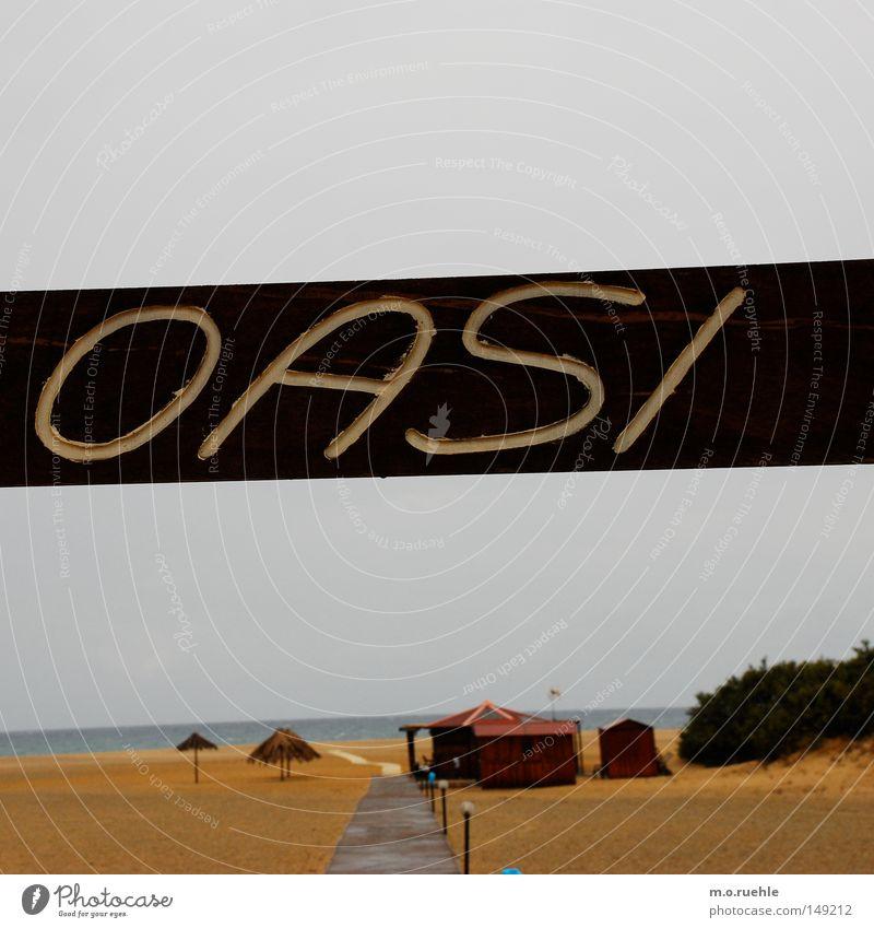 un lido di Sardegna Italien Sardinien Oase Strand Meer trüb holzig Holz Schilder & Markierungen Sonnenschirm Regenschirm Schirm Hütte Sand nass feucht