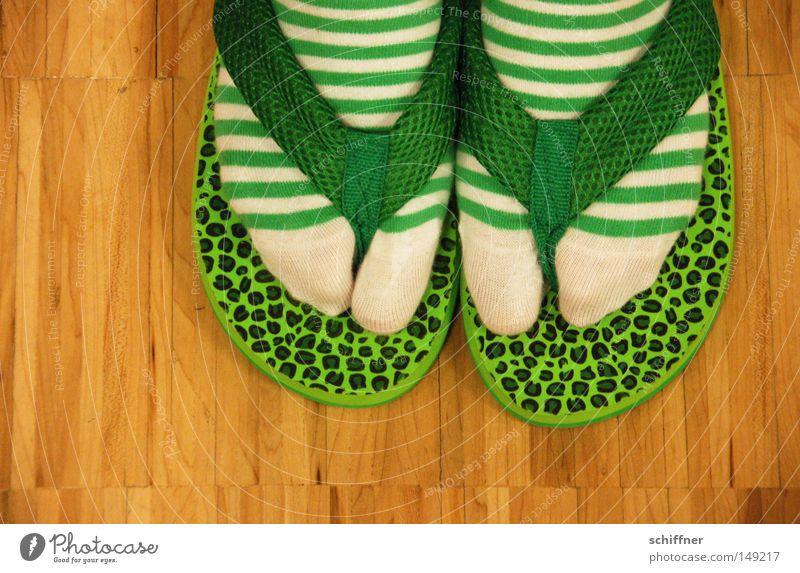 Gunsoku grün Stil lustig Mode Bekleidung Boden Streifen Punkt Japan Strümpfe falsch trendy Zehen Parkett Flipflops Schuhe