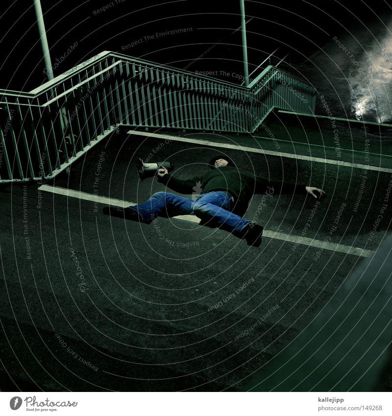 quatsch dich tot Mensch Mann ruhig Wand Architektur Mauer Tod Lifestyle fliegen springen Treppe frisch verrückt Schuhe Telekommunikation