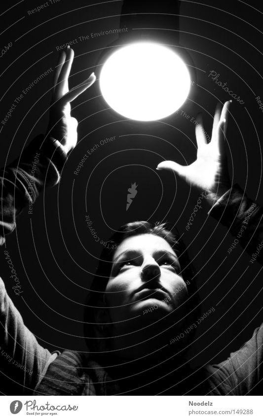 Moonrise Porträt Mensch Frau schwarz weiß grau Hand Werkstatt Photo-Shooting Licht Mond