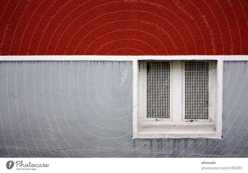 Kellerfenster Wand Fenster Linie rot weiß grau graphisch feucht Farbe streichen gestrichen Fassade