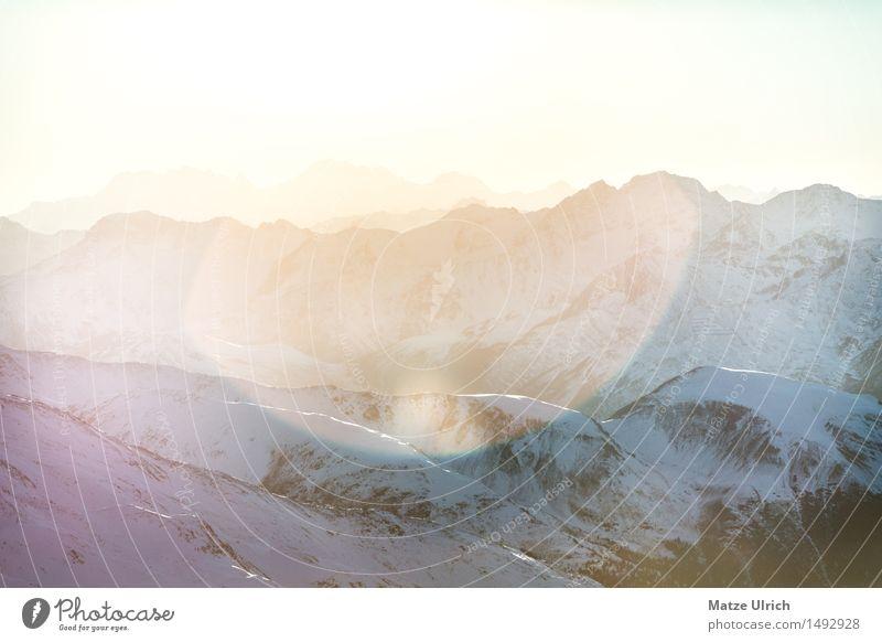 Sonnenberge Umwelt Natur Landschaft Himmel Sonnenaufgang Sonnenuntergang Sonnenlicht Winter Schnee Hügel Felsen Alpen Berge u. Gebirge Gipfel