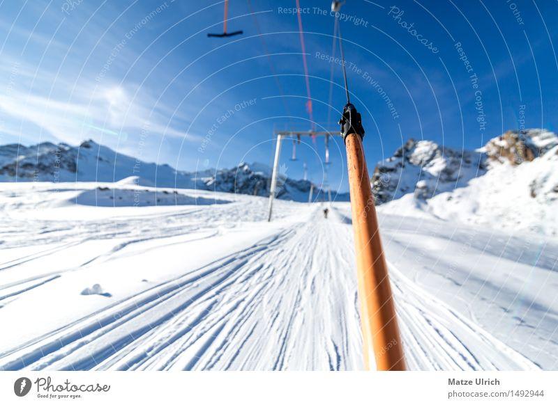 Skilift Lifestyle Freizeit & Hobby Ankerlift Sport Wintersport Skier Snowboard Skipiste Liftspur Umwelt Natur Himmel Sonne Sonnenlicht Schönes Wetter Eis Frost