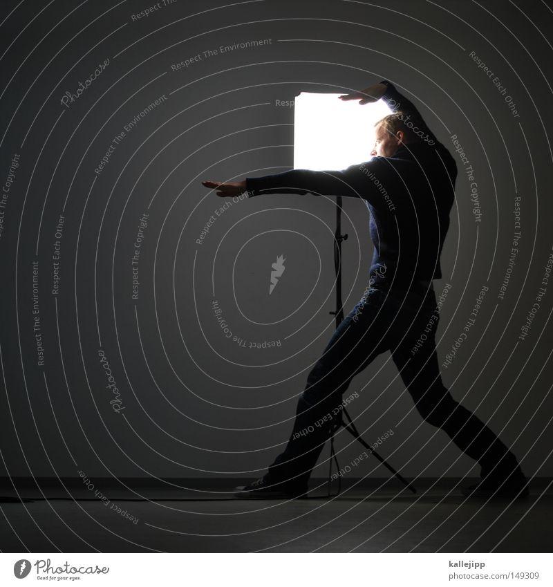 walk like an egyptian Mensch Mann weiß Hand Wand Haare & Frisuren Beleuchtung Lampe außergewöhnlich Arbeit & Erwerbstätigkeit Raum Finger Elektrizität Show