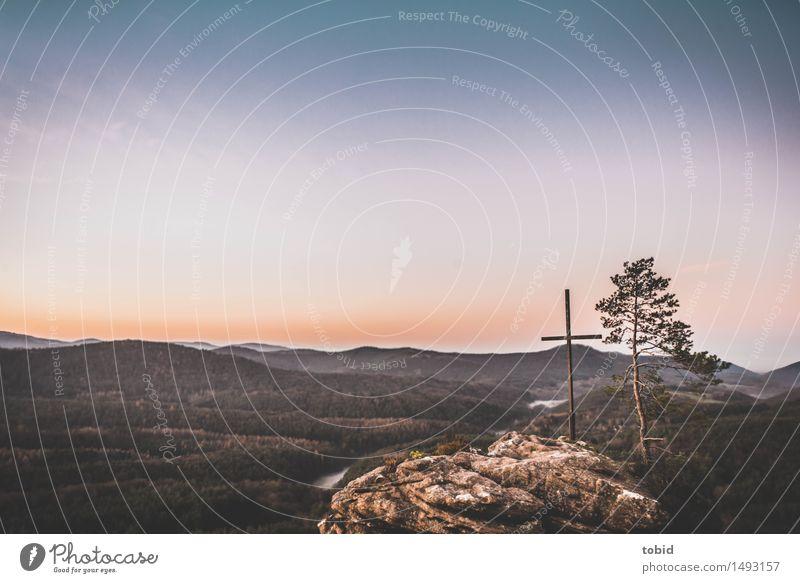 Gipfelkreuz Himmel Natur Baum Landschaft Einsamkeit Ferne Wald Gras Religion & Glaube Freiheit Felsen Horizont Idylle Sträucher Schönes Wetter Hügel