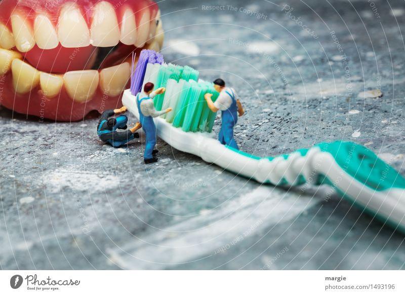 Miniwelten - Zähne putzen Handwerker Arzt Arbeitsplatz Baustelle Gesundheitswesen Mensch maskulin Mann Erwachsene 3 grün rosa Reinlichkeit Sauberkeit Zahnarzt