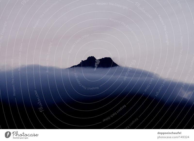 burn the old ruhig Wolken Berge u. Gebirge Nebel Alpen Abenddämmerung Nebelschleier