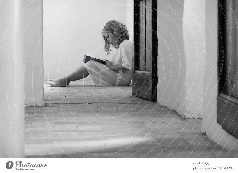 Endlich Ruhe Sommer ruhig Buch sitzen lesen Bildung Mensch gemütlich