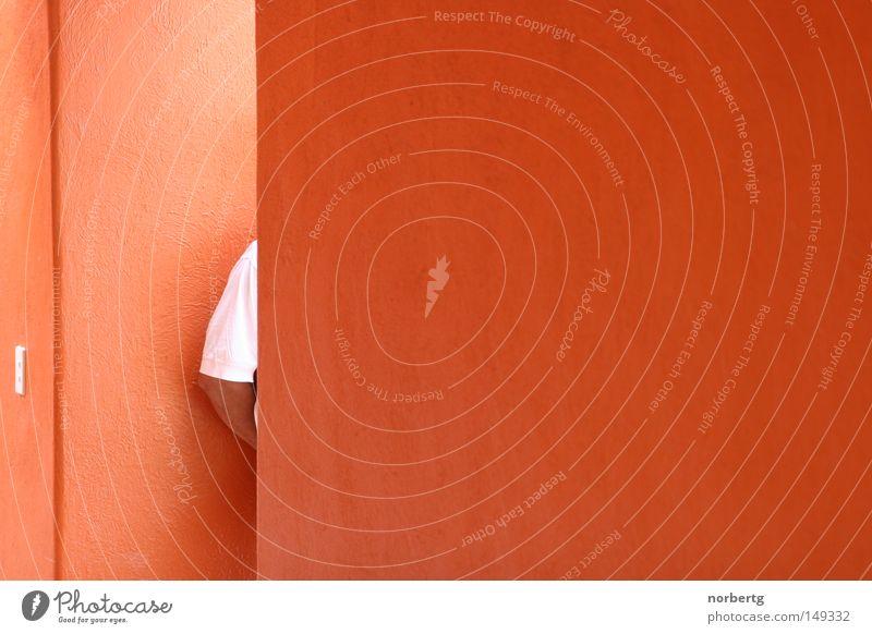 Warten rot orange warten Arme Teile u. Stücke Langeweile geduldig Ausdauer Durchgang