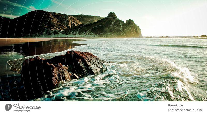 Erlebnis Algarve. Wasser schön Himmel Sonne Meer blau Sommer Strand Ferien & Urlaub & Reisen Einsamkeit Ferne Erholung Bewegung Freiheit träumen Stein