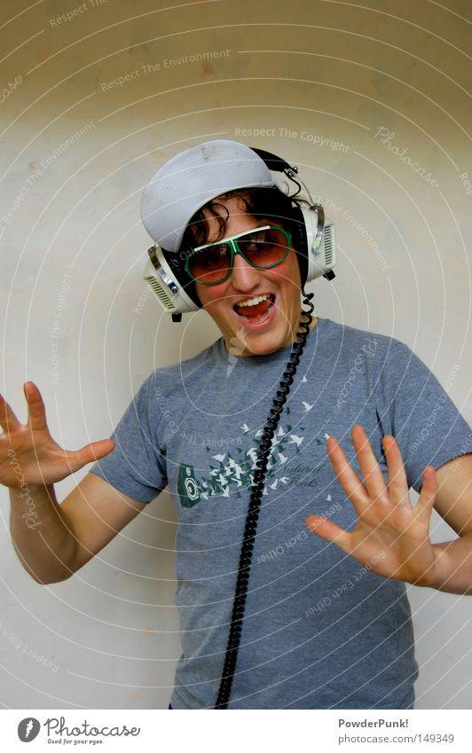 äy aldääää Mann Hand Jugendliche Freude Wand Musik lachen verrückt retro T-Shirt Konzert Mütze Kopfhörer Sonnenbrille