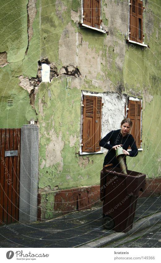 ein kaktus und sein ende. Kaktus Müllbehälter Haus zerbrechlich Ende grün Biomüll Frau grimmig alt