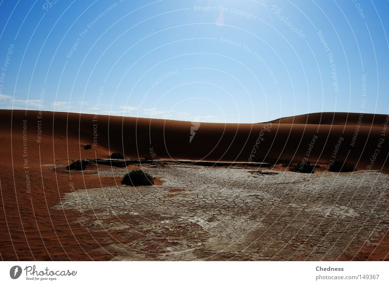 Dürre Sonne Wärme Pfanne Düne Sand Wüste Namib Namibia Afrika trocken Erde brühend