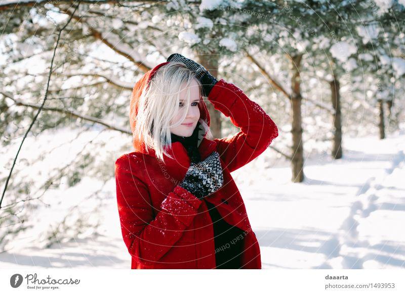 Erholung Freude Winter Leben Gefühle Schnee feminin Lifestyle Freiheit Stimmung Design wild Freizeit & Hobby elegant Fröhlichkeit Ausflug