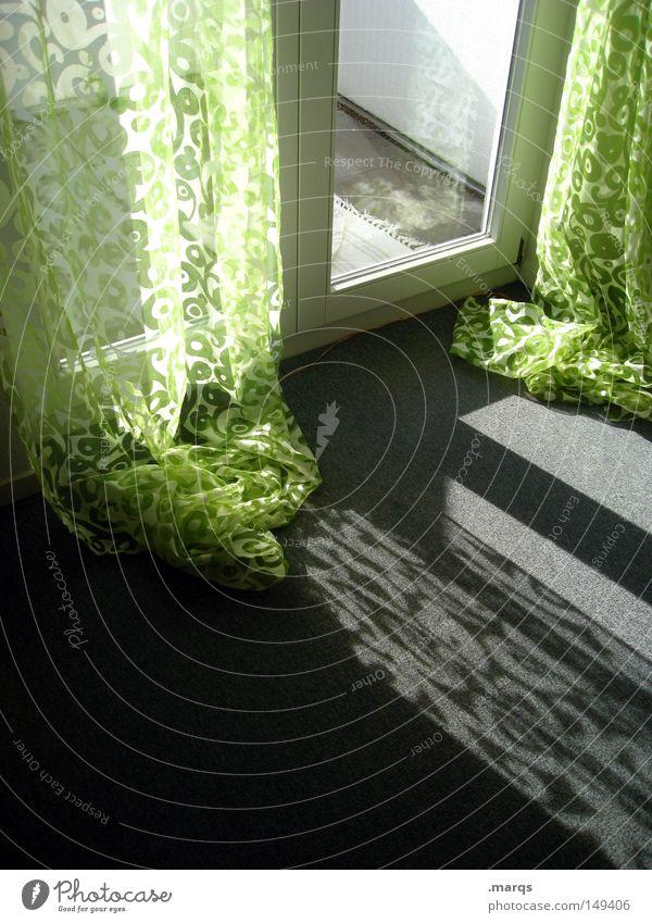 Vorhang weiß grün grau Gebäude hell Wohnung Tür modern ästhetisch Sauberkeit Häusliches Leben Lebensfreude Innenarchitektur Balkon Vorhang Erwartung