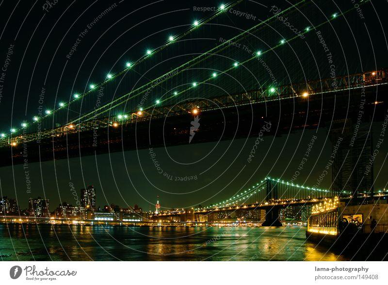 The River Café Wasser Stadt Haus Stimmung Beleuchtung Brooklyn Wellen Hintergrundbild groß Hochhaus Nacht Brücke USA Fluss Romantik