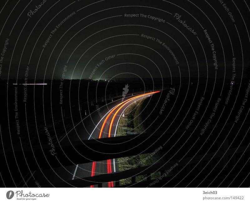 auf den Spuren der Nacht KFZ Wege & Pfade Geschwindigkeit Langzeitbelichtung Brücke dunkel Kurve